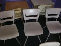 Cool, retro, institutional chairs plastic and metal,