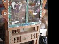 Funky lighted standing shadow box with glass window.: