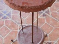 One-of-a-kind concrete / metal stand, 3 1/2 ft tall,