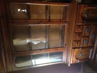 Wooden China cabinet for sale, two pieces, pictured