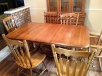 China cabinet, Table with six chairs and two leafs,