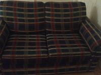 1 Loveseat, red, blue, and green plaid. $30. 1 Yellow