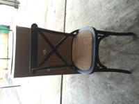 -4 black x-back chairs with rush seats. All 4 are brand