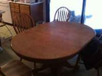 Oak Dining Table with 4 Chairs $250 Arm Chair $20