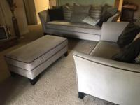 Beautiful neutral colored couch, ottoman and chaise