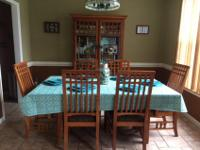 MISSION STYLE FORMAL DINING ROOM SET TO INCLUDE CHINA