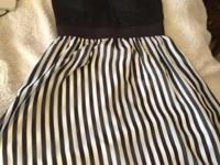 Womens G by guess black white striped dress Size