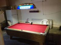 "This beautiful ""like new"" custom 8' pool table comes"