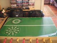 game table that has foosball,(air) hockey,basketball,