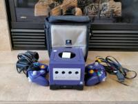 Indigo Gamecube with an attached Gameboy gamer and