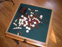 Gaming table for checkers, chess, backgammon. Includes