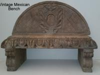 Vintage heavily carved terracotta bench.Approximately 6