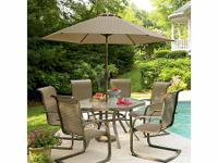 Get this Glass 9 Pc. Patio Set Up for Spring, Summer