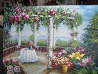 This is a refreshing garden terrace oil painting about
