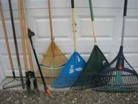 Garden rake- $5 Adjustable lawn and leaf rake - $5 30""