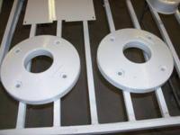 Garden tractor wheel weights, cast iron (55 lbs each).