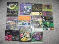 Many books on gardening, roses, coleus, basic gardening