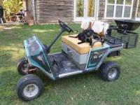 EZ GO GOLF CART WITH LIFT, DROP BASKET, SEED &