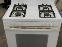 Digital, white, four burner, gas range with self