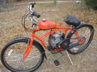 "26""MAN'S AUTOMATIC GAS AND GO MOTORIZED BICYCLE. PULL"