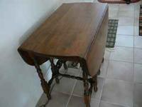 "Gate leg table, with drawer, opened 42"" x 35"" closed"