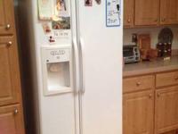 Side by side whit GE fridge.  Model # GSS201EPJWW.  I