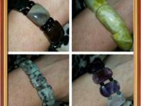 These bracelets are all stretchy with natural gemstones