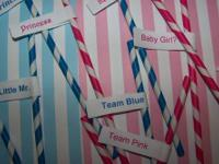Paper straws in hot pink/white stripe and blue/white