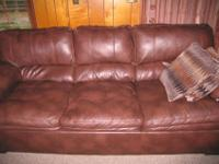 Brown fleather sofa. Great for lounging. Gently used;