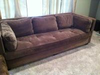 Beautiful, gently used, thick taupe velvet tufted
