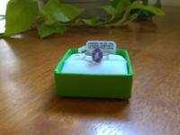 Gorgeous Genuine Amethyst Ring Lab Created White