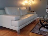 Hello! Light green genuine leather couch.