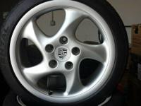 Offering a set of real Porsche turbo twist wheels.