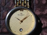 Genuine Vintage Michel Herbalin gold, crystal watch,