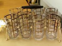 Georges Briard Glasses Set With Holder. Eight Glasses.