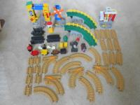 A SET OF FISHER PRICE GEOTRAX WITH 54 PIECES INCLUDING