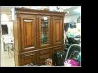 German China Cabinet. Has glass front in cabinet. Other