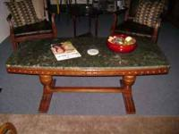 German Marble Coffee Table w/Cherry Wood Base call or