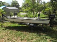 "Gheenoe 15' 4"". New 6 hp Mercury four stroke outboard."