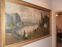 Very Large antique oil painting in initial frame!