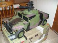 The Humvees are 1/6 scale with radio,12 volt battery,