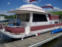 for sale 1985 fiberglass gibson houseboat. length is