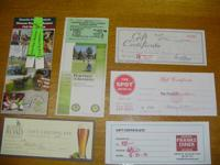 Kenosha area gift certificates for the following:  Two