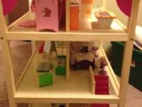 Large wooden Dollhouse - 4 ft tall, ceilings on each