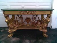 Giltwood console table with a beautiful mermaid lady as