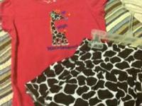 "Pink shirt - giraffe - says ""high maintenance"" sz3t"