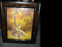 nice giraffe picture in pretty picture frame call 1-