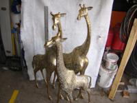 4 foot brass giraffe statues. 3 piece family