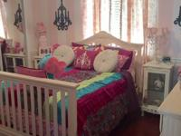 This beautiful girl's bedroom set includes convertible