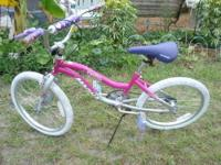 Pretty Pink and Purple bike 20 inch wheels, white